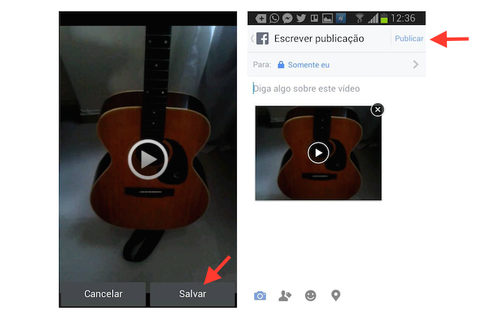 Publicando um vídeo gravado em um dispositivo Android no Facebook (Foto: Reprodução/Marvin Costa)