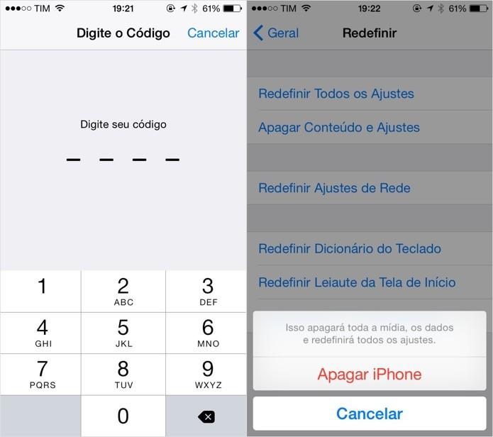 Confirme a sua senha para redefinir as configurações do iOS (Foto: Reprodução/Helito Bijora)