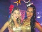 Ex-BBBs Cacau e Kelly participam de evento carnavalesco