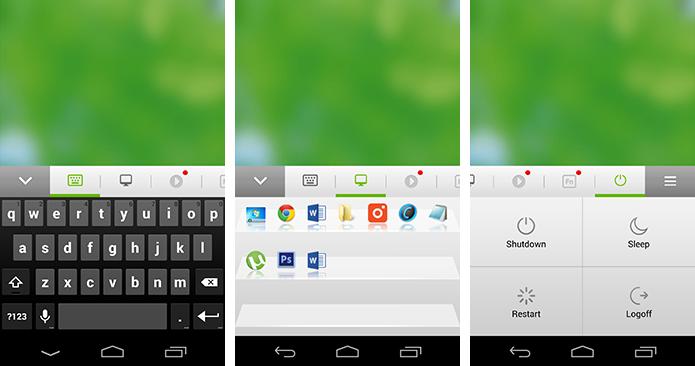 Atalhos permitem usar teclado, abrir programas e desligar a máquina usando o smartphone (Foto: Reprodução/Paulo Alves)