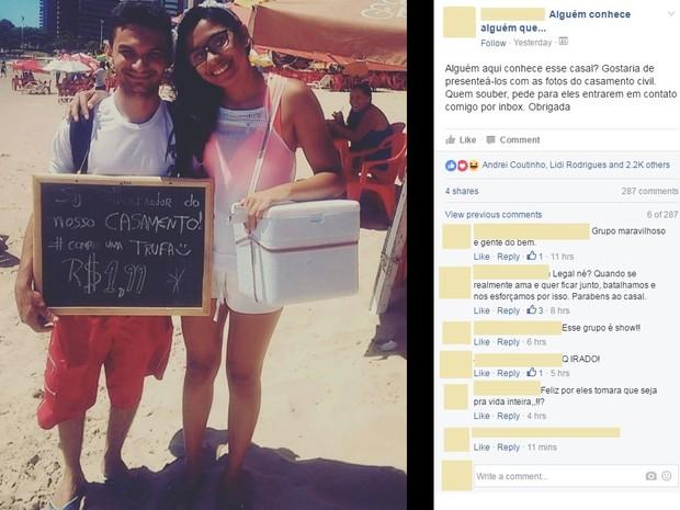 Foto de casal gerou uma campanha nas redes socias que mobilizou diversos internautas que se prontificaram a ajudar na realização do casamento (Foto: Reprodução/ Facebook)