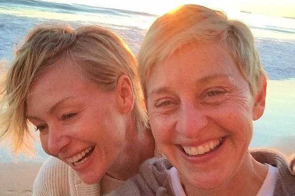 Portia de Rossi e Ellen Degeneres (Foto: Twitter)