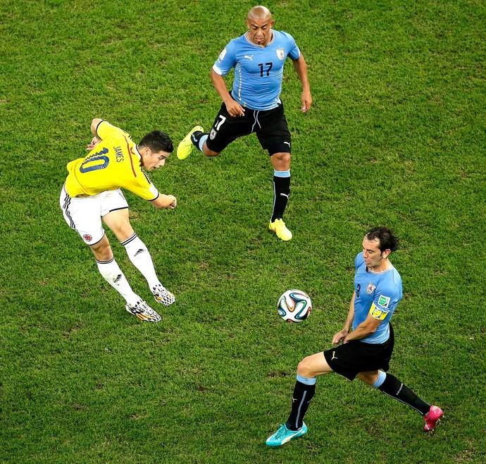 James Rodriguez Colômbia e Uruguai (Foto: Getty Images)