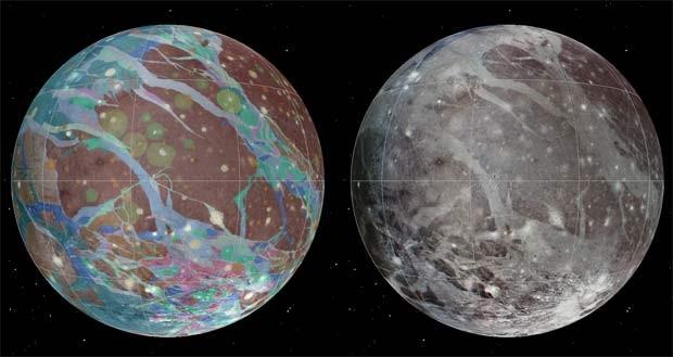 A Ganymede, sétima lua de Júpiter, ganhou mapa global com detalhes geológicos (Foto: USGS Astrogeology Science Center/Wheaton/NASA/JPL-Caltech)