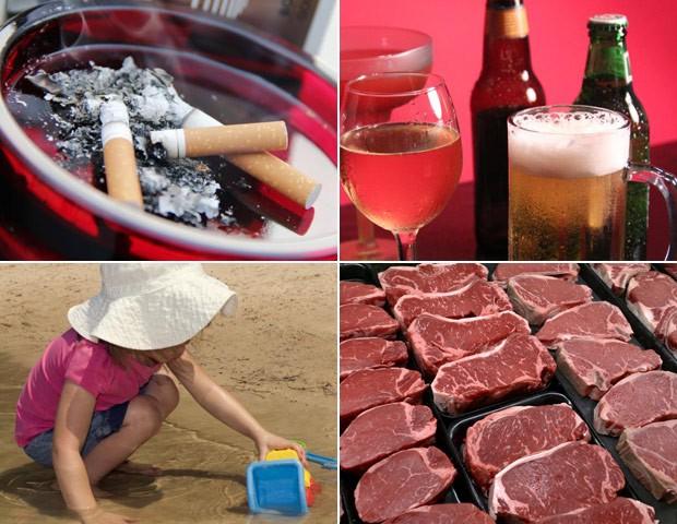 Tabaco, fumo passivo, poluição, exposição excessiva ao sol, álcool e carne processada são substâncias causadoras de câncer, diz OMS (Foto: Debora Cartagena e Amanda Mills - CDC/J. Scott Applewhite - AP Photo)