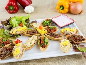 Barquetes de sabores mistos: carne de panela com pimenta e lombo de porco. (Foto: Divulgação)