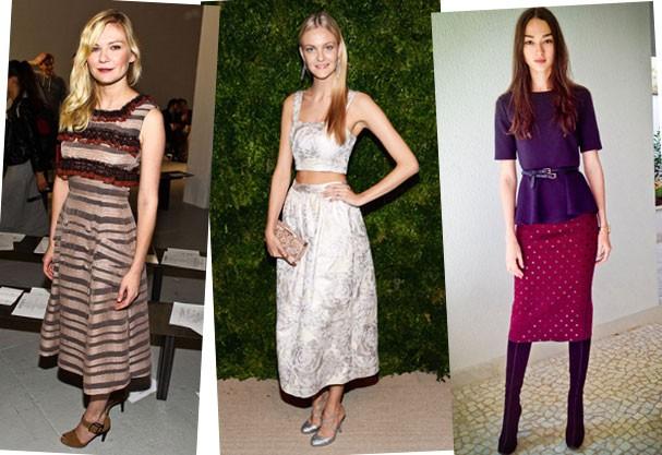Qual das três usou melhor a saia mídi: Kirsten Dunst, Carol Trentini ou Bruna Tenório? (Foto: Getty Images/Reprodução Blog Bruna Tenório)