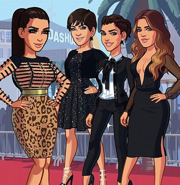 O aplicativo com as versões animadas de Kim Kardashian, Kris Jenner, Kourtney Kardashian e Khloé Kardashian (Foto: Reprodução)