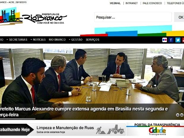 Site da Prefeitura foi um dos que foi intimado pela Justiça  (Foto: Reprodução/PMRB)