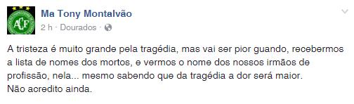 Dirigente do Sete de Dourados lamenta tragédia da Chapecoense (Foto: Reprodução/Facebook)