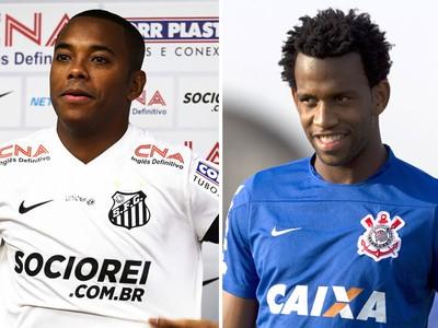 Montagem Robinho e Gil - Santos e Corinthians (Foto: Editoria de Arte)