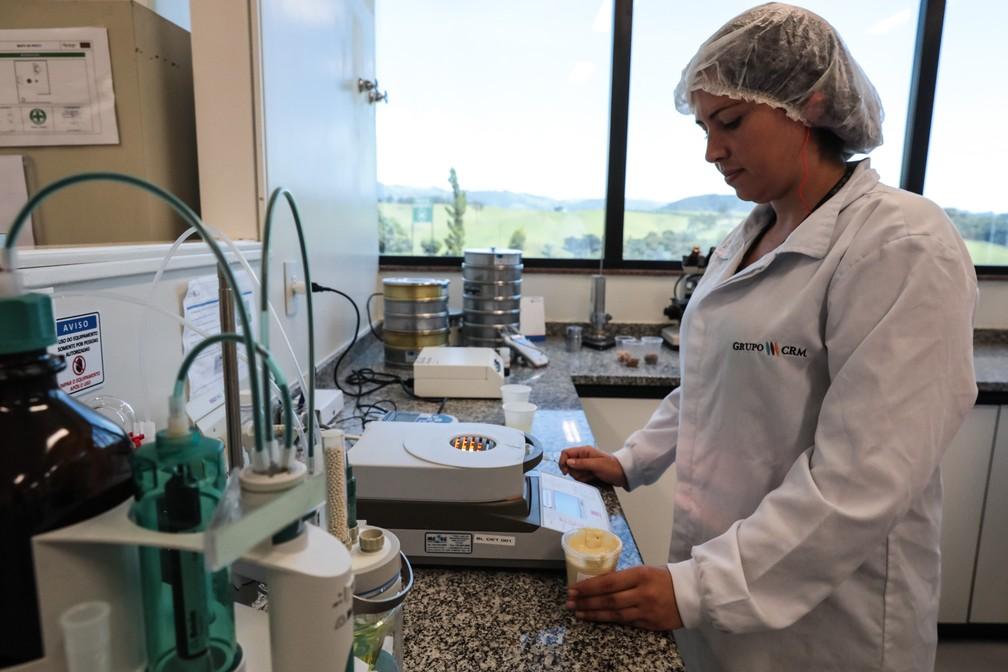 Funcionária analisa recheio de chocolate no departamento de pesquisa e desenvolvimento, na fábrica do Grupo CRM, em Extrema (MG) (Foto: Fábio Tito/G1)