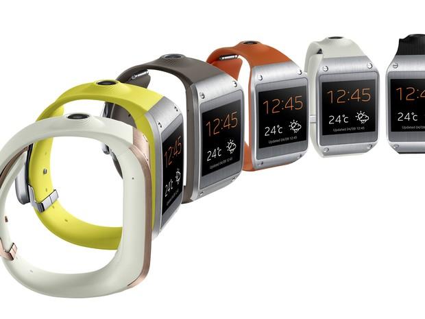 db5c67730ce Relógio INteligente Galaxy Gear vem em diversas cores (Foto   Divulgação Samsung)