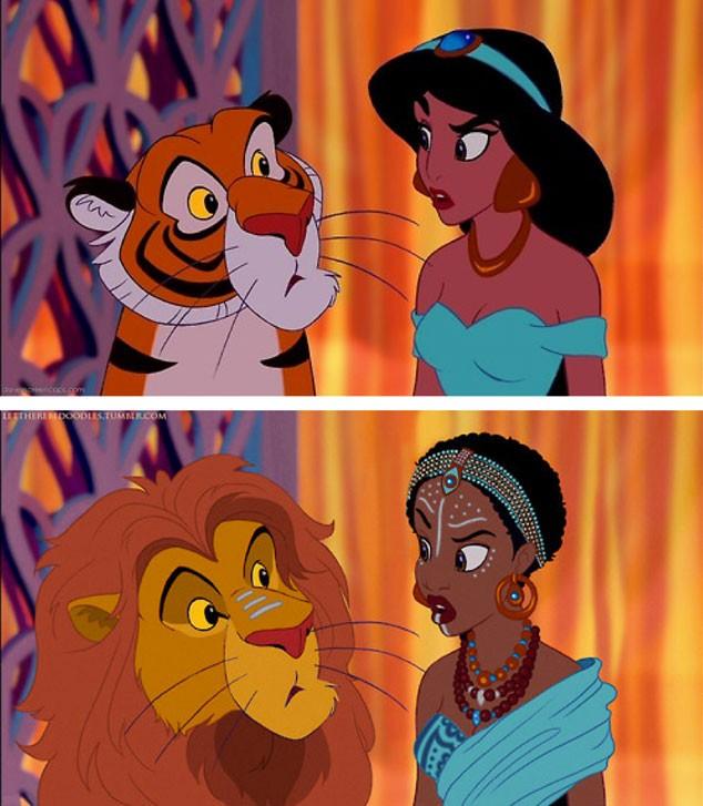 Artista repagina princesas da disney em diferentes etnias - Tigre de jasmine ...
