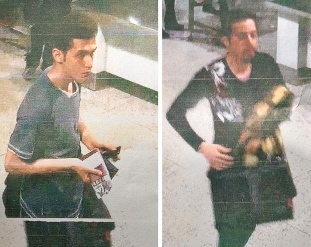 Fotos divulgadas pela polícia da Malásia mostram os dois passageiros que embarcaram com passaportes roubados no voo MH370 da Malaysia Airlines, que desapareceu no sábado (8) entre Kuala Lampur e Pequim. À esquerda está o jovem identificado como Pouria Nour Mohammad Mehrdad, um iraniano de 19 anos. O outro homem ainda não foi identificado (Foto: Polícia da Malásia/AFP)