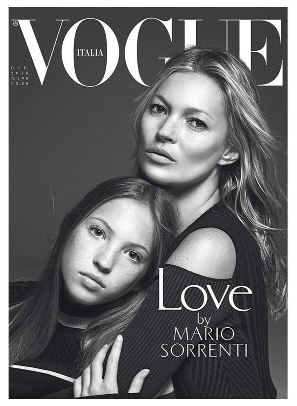 Lila Grace Moss e Kate Moss na capa da Vogue Itália em junho de 2016 (Foto: Divulgação)