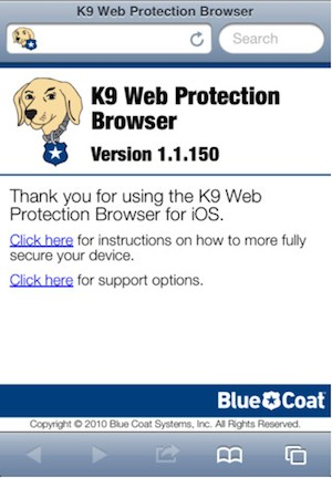 O K9 funciona como um navegador de internet, mas com o suporte a diversos filtros de conteúdo. (Foto: Reprodução)