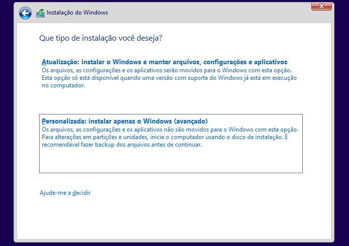 Resultado de imagem para Instalação Personalizada windows 10