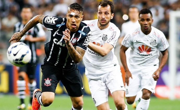 Guerrero e Edu Dracena, Corinthians x Santos (Foto: Getty Images)