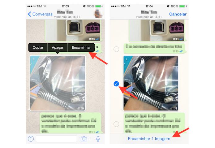 Encaminhando um foto do WhatsApp para enviá-la a um contato do Facebook Messenger pelo iPhone (Foto: Reprodução/Marvin Costa)