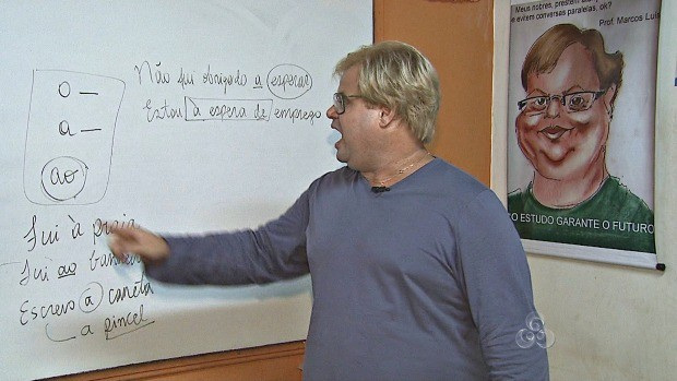 Professor explica sobre a crase (Foto: Bom Dia Amazônia)
