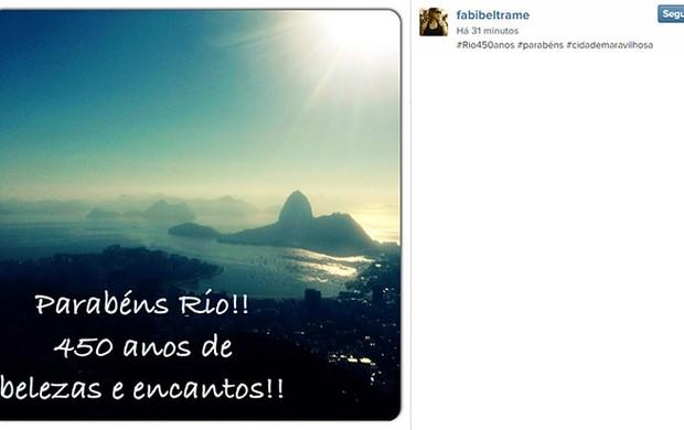 Fabiana Beltrame homenagem ao Rio no Instagram