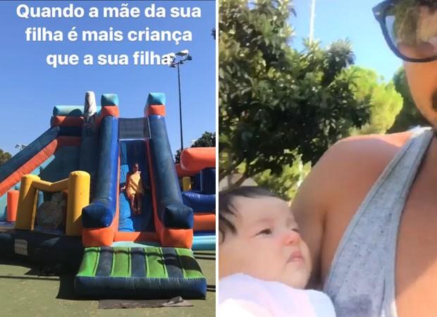 Acompanhado de filha, Bruno Gissoni se diverte com Yanna Lavigne (Foto: Reprodução)