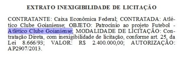 Atlético-GO e Caixa - contrato - Diário Oficial (Foto: Divulgação)