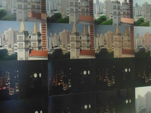 Obra retrata torres da Catedral de Santo Antonio de Piracidade de hora em hora (Foto: Lídice Salgot/Reprodução)