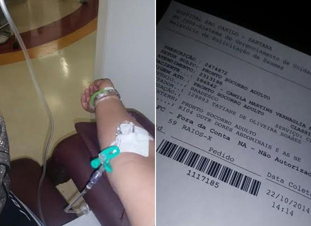 Camila Vernaglia toma soro no hospital (Foto: Divulgação)