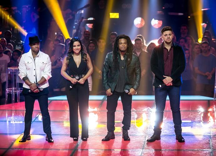 Os quatro participantes do Time Teló que se apresentaram na Rodada de Fogo (Foto: Isabella Pinheiro/Gshow)