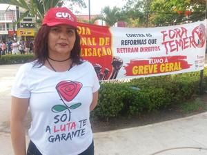 Secretaria geral e CUT Amapá, Ivanéia Alves (Foto: Jorge Abreu/G1)
