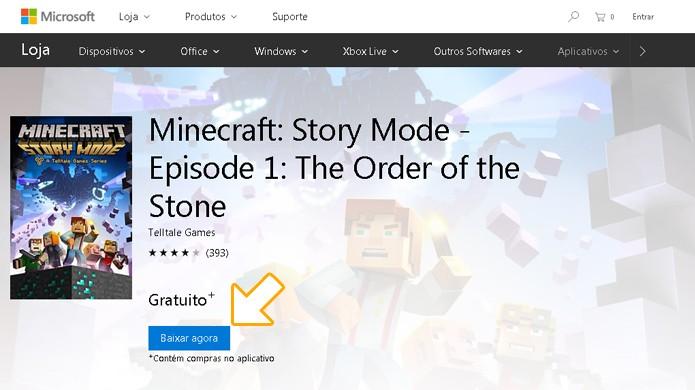 Complete a compra de Minecraft: Story Mode no valor de R$ 0,00 no Xbox One ou Xbox 360 para adquirir o primeiro episódio (Foto: Reprodução/Rafael Monteiro)