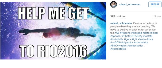 Roland Schoeman natação África do Sul ajuda (Foto: Reprodução / Instagram)