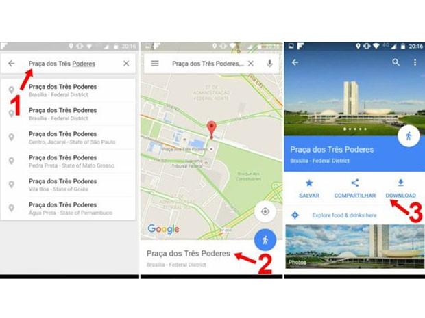 1) Busque o lugar; 2) Pressione o nome; 3) Faça o download (Foto: Google)