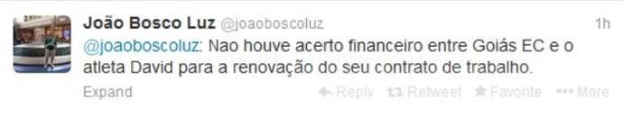 Presidente do Goiás anuncia saída de David (Foto: Reprodução / Twitter)