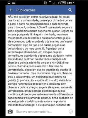 Postagem de vítima de estuprador (Foto: Reprodução / Facebook)