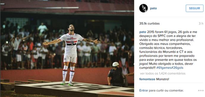 Pato se despede do São Paulo com mensagem nas redes sociais (Foto: Reprodução/Instagram)