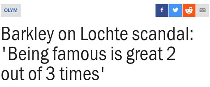 """O site americano The Score entrevistou o campeão olímpico Charles Barkley sobe o caso dos nadadores no Brasil. O atleta opinou que será um """"bom aprendizado para Lochte"""". """"Ser famoso é bom em duas de cada três vezes, mas se você faz algo errado ou perde, é horrível"""", disse. E ressaltou a imaturidade do nadador. """"É uma coisa obviamente estúpida o que ele fez, mas ele é um jovem garoto – e todos os jovens garotos fazem coisas estúpidas"""", completou."""