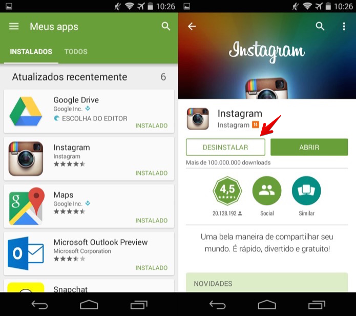 Desinstalando aplicativo pelo Google Play (Foto: Reprodução/Helito Bijora)