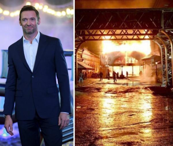 Hugh Jackman e o set do filme em que trabalhava em chamas (Foto: Getty Images/Twitter)
