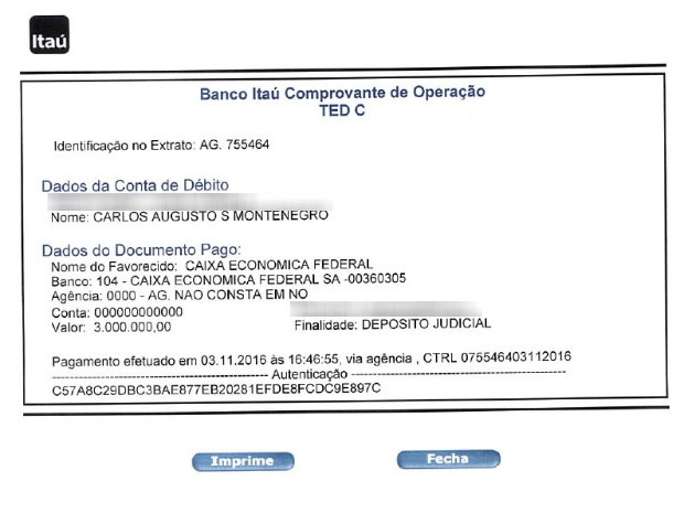 Comprovante de depósito dos R$ 3.000.000,00 da fiança (Foto: Reprodução)