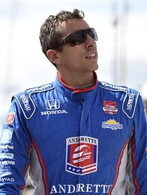 Justin Wilson em Pocono antes da realização da corrida (Foto: AP Photo/Derik Hamilton)
