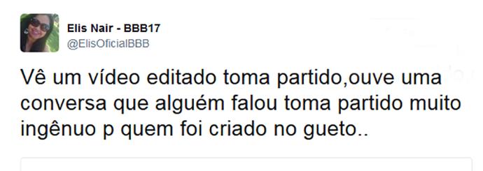 Elis comenta nas redes a declaração de Daniel sobre Marinalva (Foto: Reprodução da Internet / Twitter @ElisOficialBBB)
