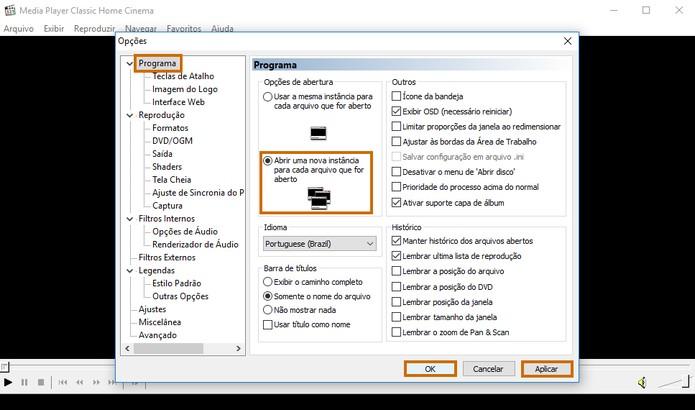 Altere as configurações para abrir diversas janelas do Media Player Classic no PC (Foto: Reprodução/Barbara Mannara)
