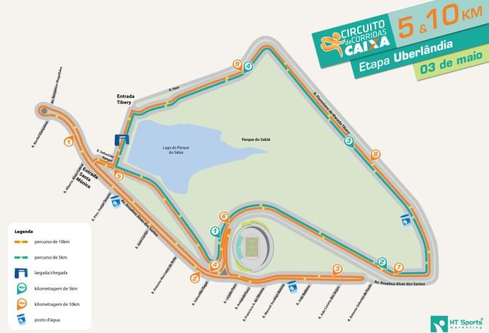 Percurso da etapa Uberlândia do Circuito de Corridas 2014 (Foto: Circuito de Corridas Caixa/Divulgação)