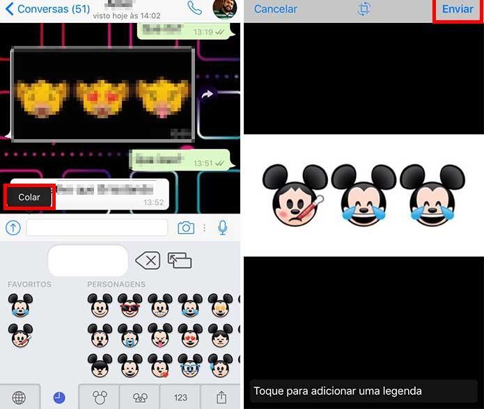Cole os emojis na conversa e envie (Foto: Reprodução/Paulo Alves)