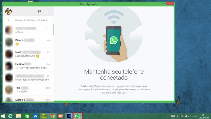 WhatsApp Web será exibido em janela separada após ser fixado (Foto: Reprodução/Elson de Souza)