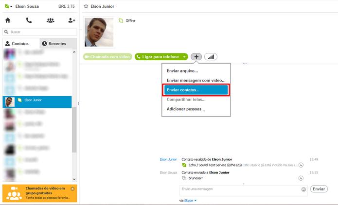 Skype oferece a opção de enviar contatos para pessoas que estejam na sua lista (Foto: Reprodução/Elson de Souza)