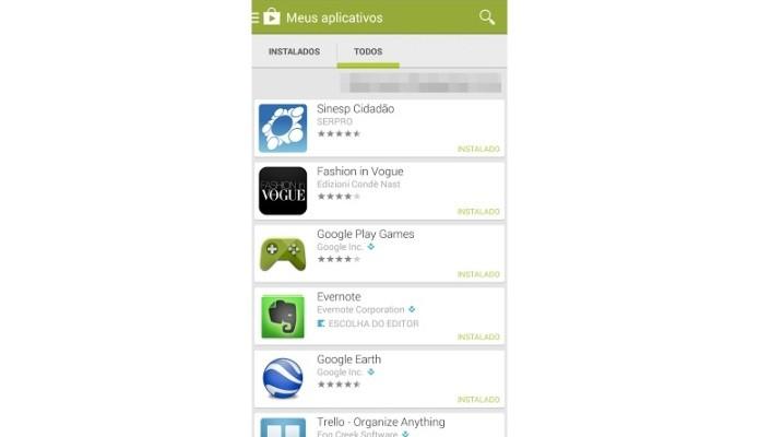 Lista dos apps baixados na Play Store (Foto: Reprodução/Lívia Dâmaso)